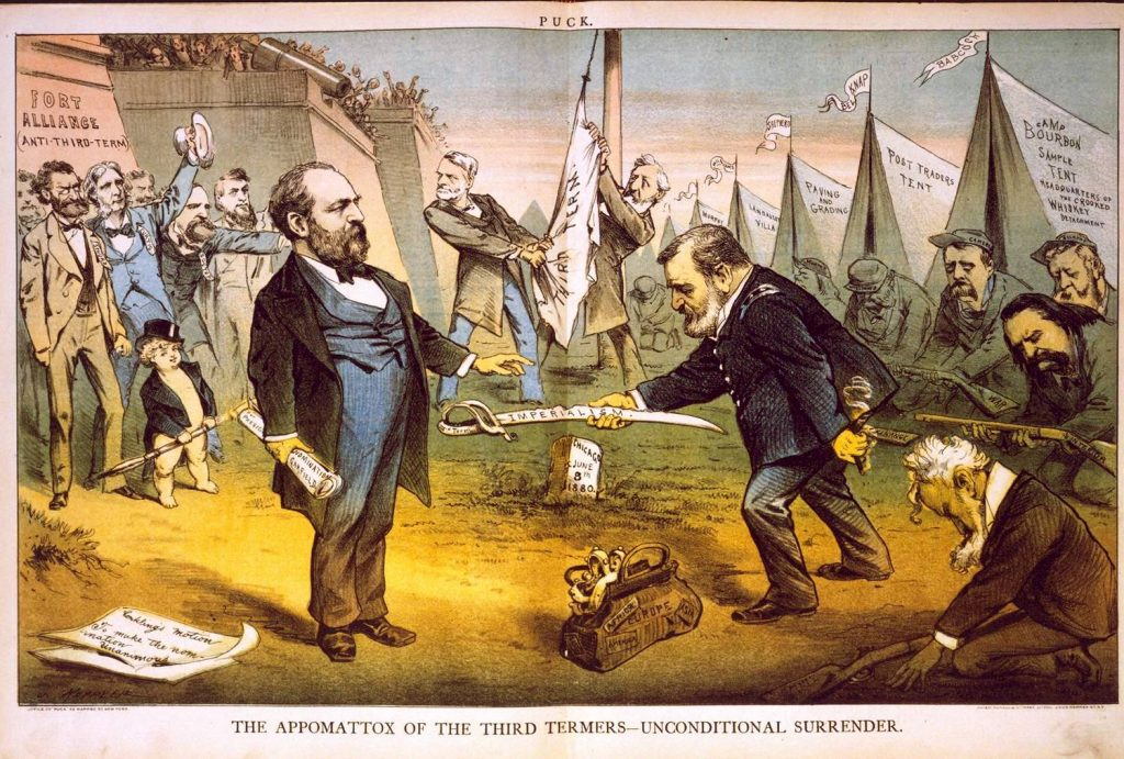 Grant offering sword to Garfield.