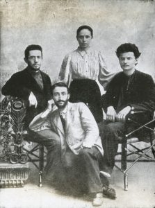 Trotsky, right, and Ziv, front, circa 1898.